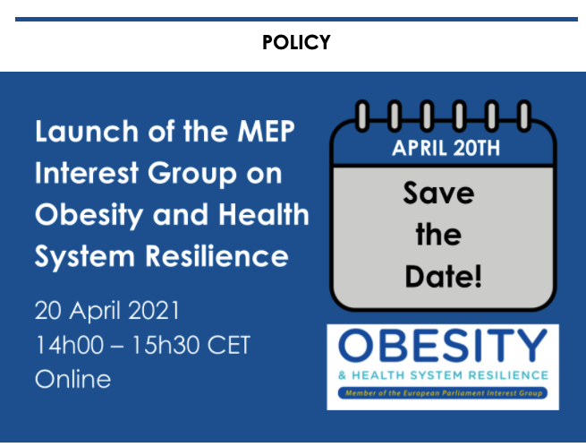 Launch of the MEP Interest Group on obesity and health system resilience